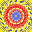 Yellow spinning  sacred circle mandala - Stock Photo