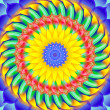 Kaleidoscopic spinning  sacred circle mandala - Stock Photo
