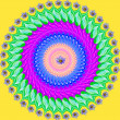 Colorful mandala, geometric drawing sacred circle - Stock Photo