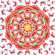 Floral mandala with red butterflies on white background - Stock Photo