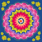 Floral mandala drawing sacred circle — Stock Photo