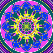 Floral mandala, geometric drawing sacred circle — Stock Photo
