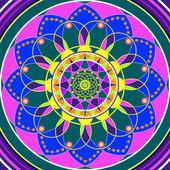 Floral mandala, geometric drawing sacred circle — Stock Photo