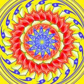 Yellow spinning sacred circle mandala — Stock Photo