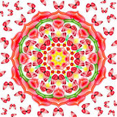 Floral mandala with red butterflies on white background — Stock Photo