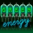 Words  GREEN enregy  made with bulbs with glowing letters - Stock Photo