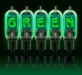 Palavra verde feita com lâmpadas de incandescência letras — Foto Stock