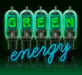 Words GREEN enregy made with bulbs with glowing letters — 图库照片