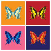 Butterflies in pop art style — Vecteur