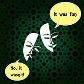 Theatre masks lucky sad — Stock Vector