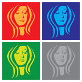 Young woman face in popart — Stock Vector