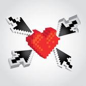 Pijlen die wijzen op een hart — Stockvector