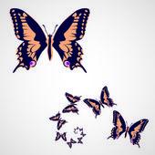 Butterflies in spiral — Stock Vector