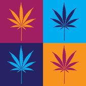 Four cannabis leafs — Stock Vector