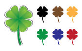 Set of four-leaf clover — Stock Vector