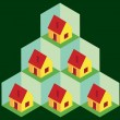 Isometric houses in cells — Vector de stock