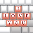 Computer keys I Love You — Stock Vector
