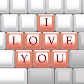 Computer keys I Love You — Stock Vector