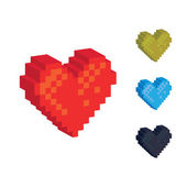 3d pixel hearts — Stock Vector