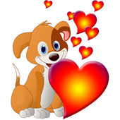 Valentine's Day puppy with hearts — Stockfoto