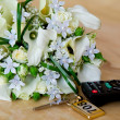 Stock Photo: Bridal bouquet on table