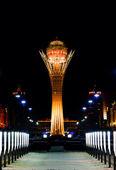Night Baiterek Kazakhstan, Astana — Stock Photo