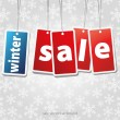 Snow flake background with sale stickers — Stock Photo