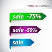 Försäljning pilen klistermärken — Stockfoto