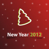 Simple vector red christmas card with new year 2012 — Stock Photo