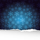 Snowflakes background with ripped paper — Stock Photo