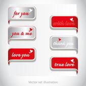 愛、バレンタインの日のためのページのタグのセット — ストック写真