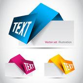 Vector color Paper origami bookmark — Stock Vector