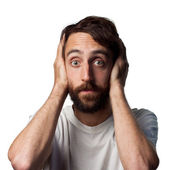 Man covers his ears — Stock Photo