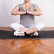 Overweight woman practising yoga — Stock Photo