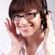 Portrait of a happy customer support employee / secretary — Stock Photo