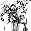 Cartoon Christmas gifts with a vase and flowers — Image vectorielle
