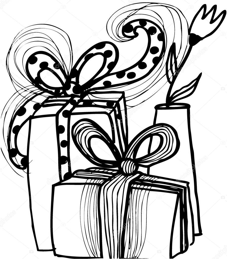 Cartoon christmas gifts with a vase and flowers — stock
