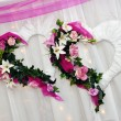 Decoration at wedding - two hearts — Stock Photo #10649467