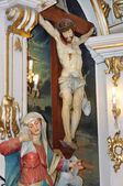 Crucified Jesus Christ and Mary — Stock Photo