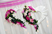 Decoration at the wedding - two hearts — Stock Photo