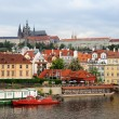 Prague gothic Castle above the River Vltava, Czech republic - Stock Photo