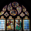 Stained glass windows in church — Stock Photo