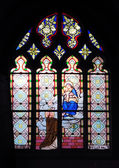 Stained glass window in church — Stock Photo