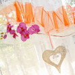 Wedding decorations on the window curtain — Stock Photo