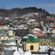 Banska Stiavnica historical mining town in winter, Unesco - Zdjęcie stockowe