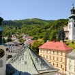 Banska Stiavnica City Hall and behind the Old castle - Zdjęcie stockowe