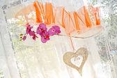 Dekoracje ślubne na zasłony okna — Zdjęcie stockowe