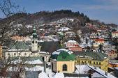 Banska Stiavnica historical mining town in winter, Unesco — Stock Photo