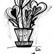Drawing hearts in the pot for Valentine's Day — Stockvectorbeeld