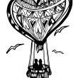 Flying balloon heart for Valentine´s Day — Stockvektor